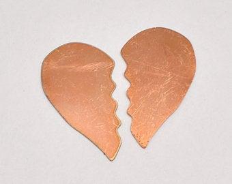 Broken heart copper blanks